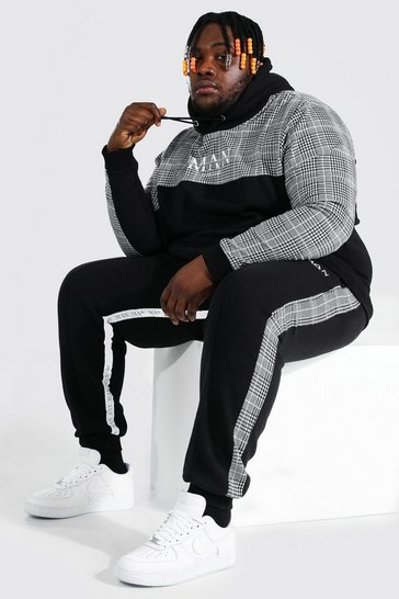 Black Plus Size MAN Roman Tape Panel Tracksuit