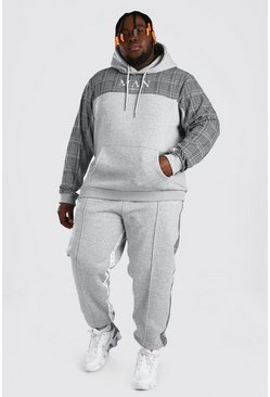 Grey marl grey Plus Size MAN Roman Tape Panel Tracksuit