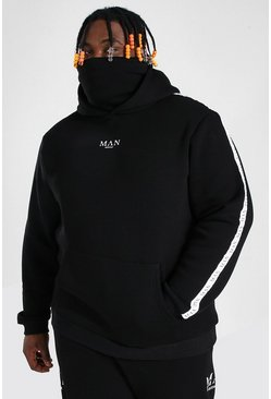 Black Plus Size MAN Roman Hoodie With Snood