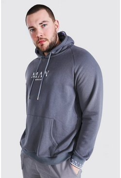 Dark grey grey Plus Size MAN Roman Cuff Detail Hoodie
