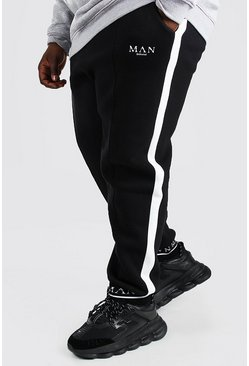 Black Plus Size Man Geruite Slim Fit Joggingbroek Met Omgeslagen Zoom