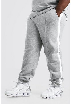 Grey marl grey Plus Size Man Geruite Slim Fit Joggingbroek Met Omgeslagen Zoom
