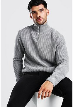 Grey marl grey Chunky Ribbed Half Zip Jumper
