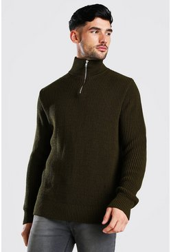 Khaki Chunky Ribbed Half Zip Jumper