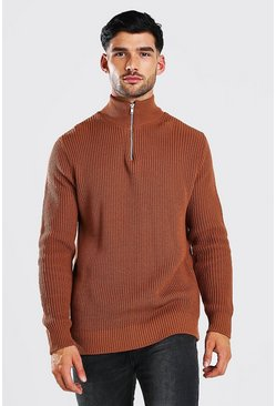 Rust orange Chunky Ribbed Half Zip Jumper