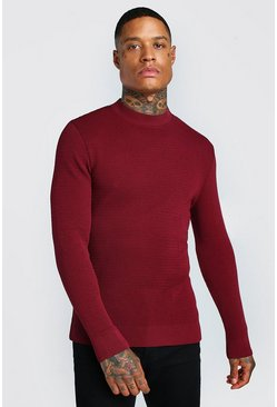 Burgundy red Muscle Fit Waffle Knit Turtle Neck Jumper