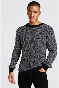 Black Crew Neck Muscle Fit Twist Yarn Jumper