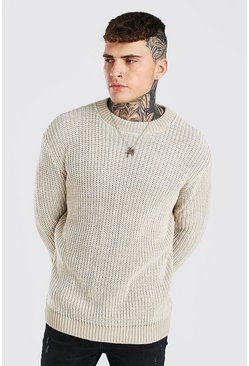Oatmeal beige Crew Neck Muscle Fit Twist Yarn Jumper