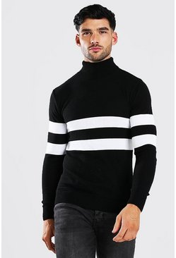 Black Muscle Fit Roll Neck Jumper With Stripes