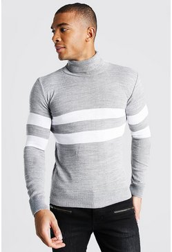 Grey Muscle Fit Roll Neck Sweater With Stripes