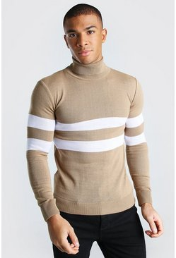 Taupe Muscle Fit Roll Neck Jumper With Stripes