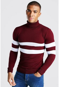 Burgundy Muscle Fit Roll Neck Jumper With Stripes