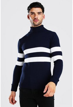 Navy Muscle Fit Roll Neck Jumper With Stripes