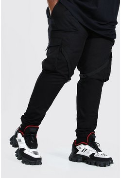 Black Plus Size Woven Cargo Jogger With Leg Strap