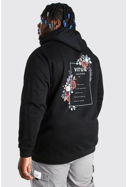 Black Plus Size Virtue Back Print Hoodie
