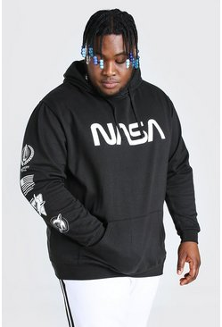 Black Plus Size Nasa Front And Sleeve License Hoodie
