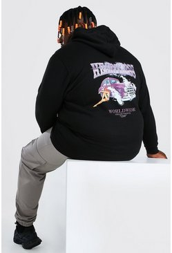 Black Plus Size Heartless Front And Back Print Hoodie