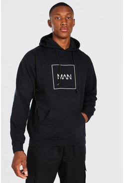 Black Original Man Outline Hoodie