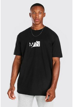 Black Oversized Original Man Spliced T-Shirt