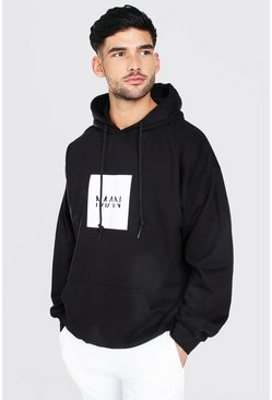 Black Oversized Original Man Square Box Logo Hoodie
