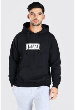 Black Original Man Double Outline Hoodie