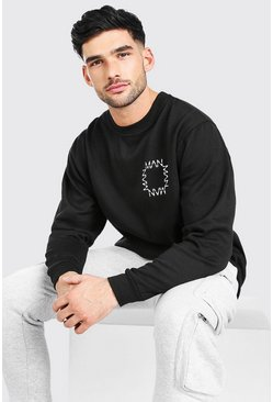 Black Oversized Original Man Square Chest Print Sweat