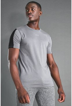 Charcoal grey MAN Active S/S T-Shirt With Sleeve Panel