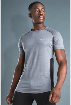 Charcoal grey MAN Active Muscle Fit T-Shirt With Piping