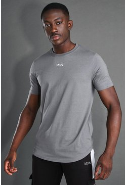 T-shirt à manches courtes et ourlet arrondi - MAN Active, Charcoal gris
