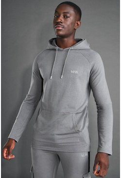 Charcoal grey MAN Active Longline OTH Embroidered Hoodie