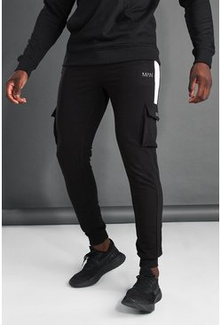 Black MAN Active Cargo Jogger With Side Panel