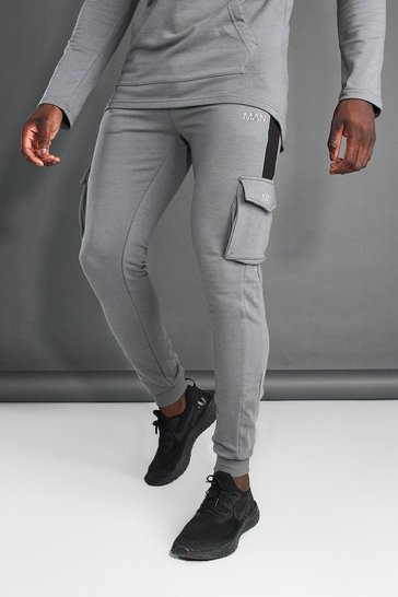 Charcoal grey MAN Active Cargo Jogger With Side Panel