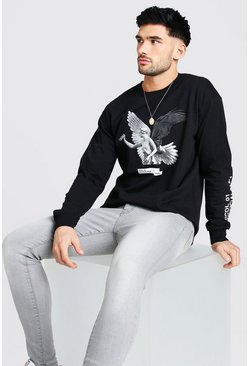 Black Loose fit Statue Sleeve Print LS T-Shirt