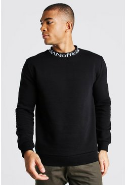 Black MAN Official Jacquard Neck Sweatshirt