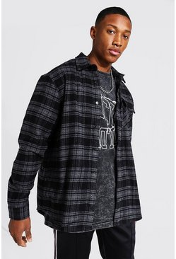 Slate grey Oversized Heavy Weight Check Shirt