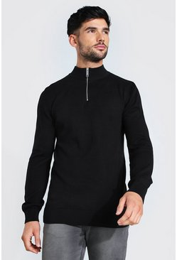 Black Half Zip Funnel Neck Jumper
