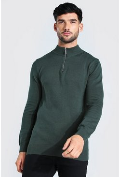 Half Zip Funnel Neck Jumper, Forest vert