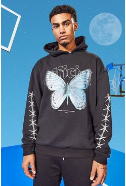 Black Tall Oversized Butterfly Hoodie With Sleeve Print