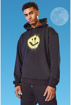 Tall Oversized Spray Smiley Hoodie, Black noir