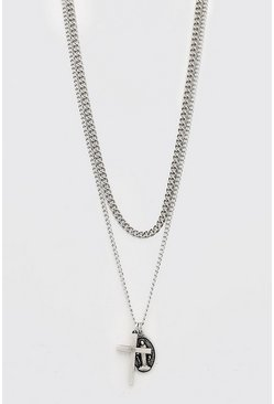 Silver Double Pendant Layered Chain