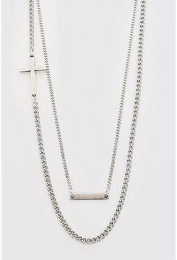 Silver Side Cross Double Layered Chain