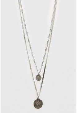 Silver Dual Coin Pendant Layered Chain