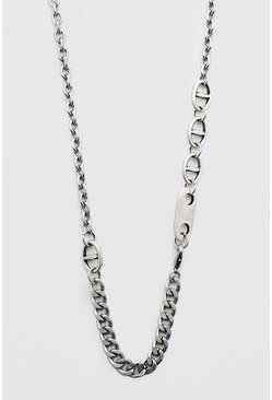 Silver Contrast Multi Link Chain