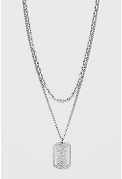 Silver Dog Tag Pendant Layered Chain