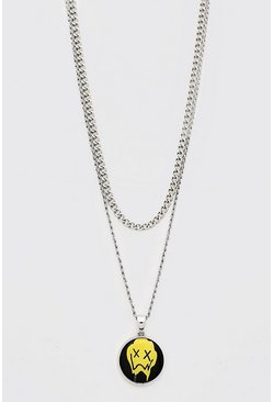 Silver Drip Face Pendant Layered Chain