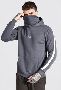 MAN Roman Hoodie With Detachable Snood, Charcoal gris