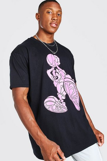 Black Oversized Looney Tunes Basketball T-Shirt