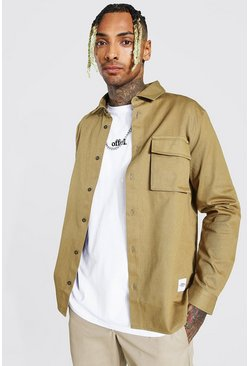 Taupe beige Regular Fit Cargo Pocket Overshirt