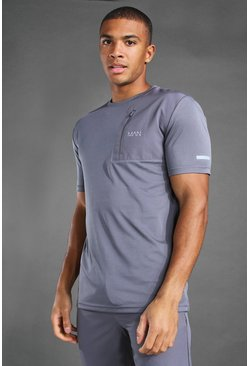 Charcoal grey MAN Active Contrast Panel Utility T-Shirt