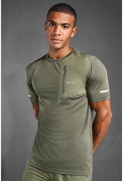 Khaki MAN Active Contrast Panel Utility T-Shirt